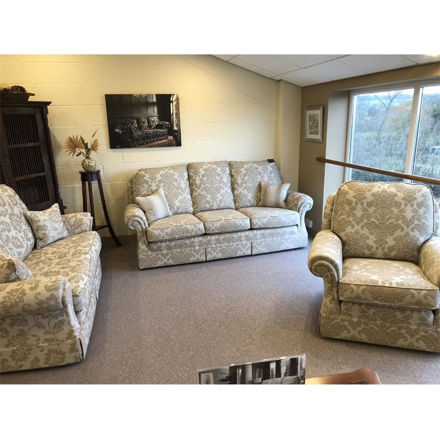 Picture of Chartwell 3 Seater Sofa, 2.5 Seater Sofa and Chair in Senea Medallion 488 Ardoise Fabric