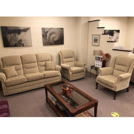 Picture of Langfield 3 seater Sofa, Gents Chair and Erringden Chair in Ripple Honey Fabric