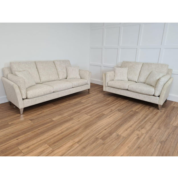 Picture of Ezra Low Back Grand Sofa and Low Back 2.5 Seater Sofa in Hawes/Malton Chalk Fabric