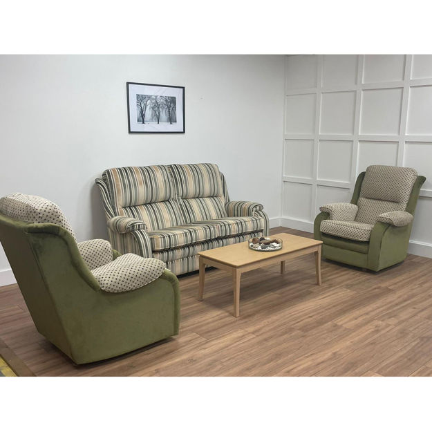 Picture of SOLD  Roma Gents 2.5 Seater, Chair and Gents Chair in Laureate Smoke/Moss Fabric