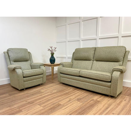 Picture of Roma 2.5 Seater Settee and Chair in Homespun Sage Fabric