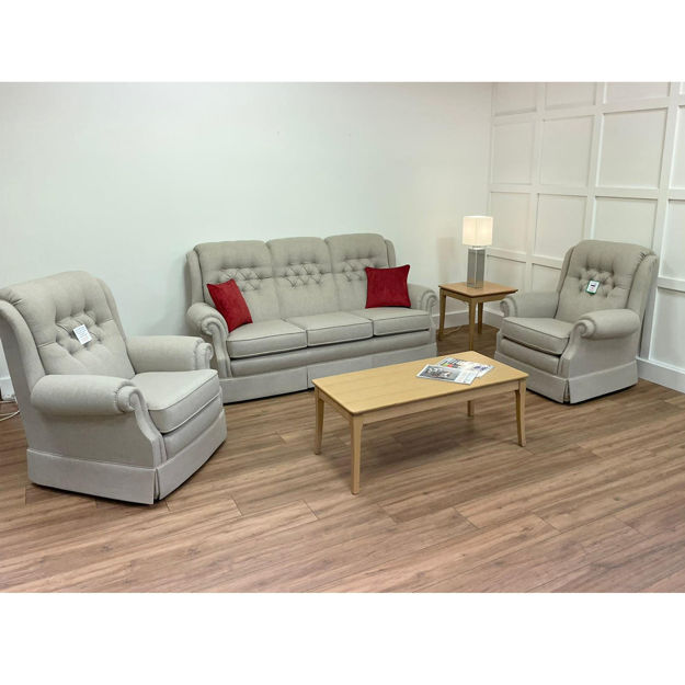 Picture of Amalfi 3 seater Settee and Two Chairs in Keylargo Almond Fabric